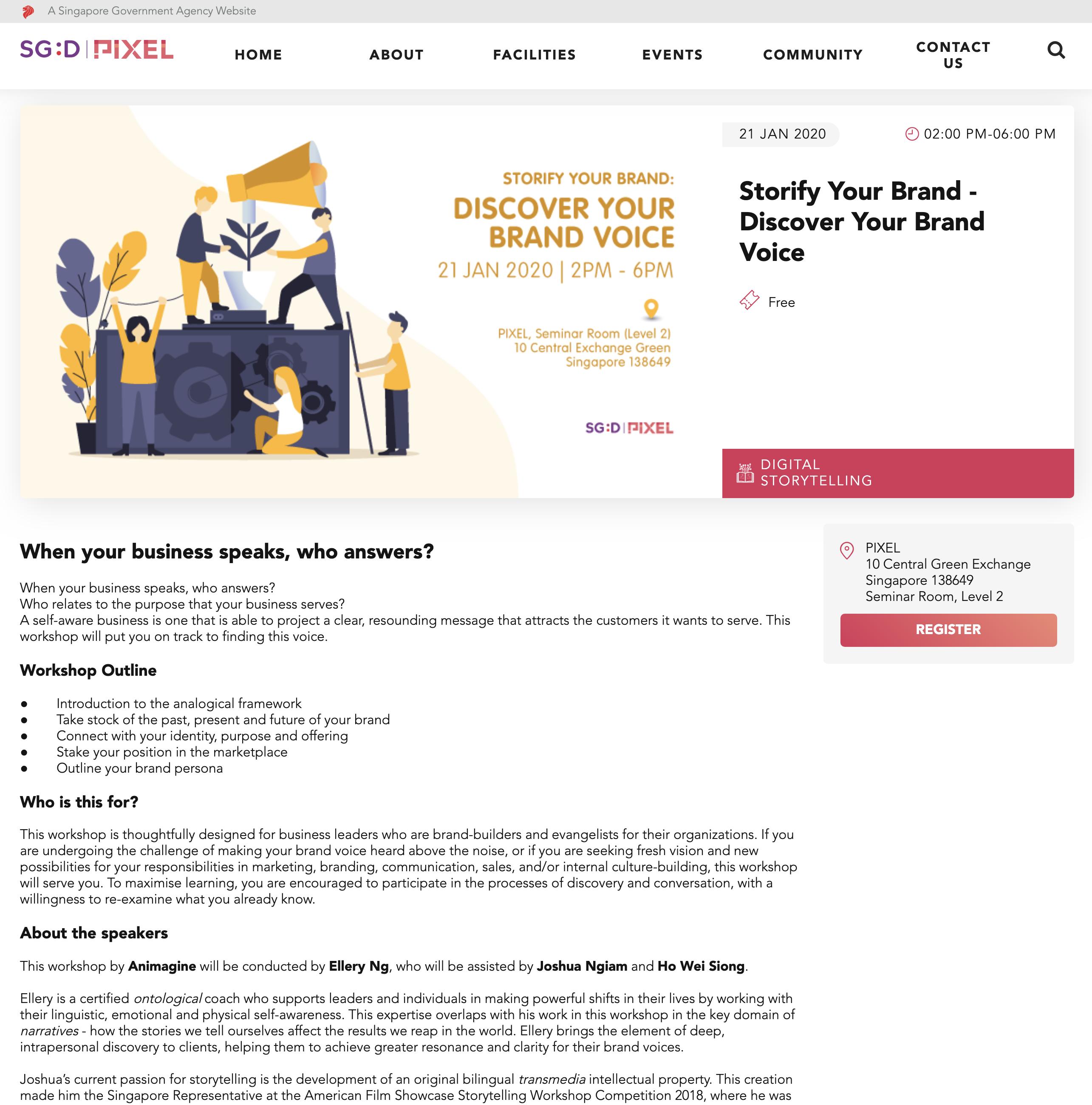 IMDA digital brand storytelling workshop Animagine Storify Pixel
